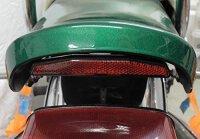 Rückstrahler mit gebogenem Halter, Universal Katzenauge Reflektor + E-Zeichen Chopper, Bobber, Harley, Motorrad