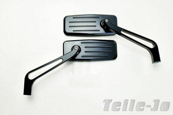 CNC gefräster Alu Spiegel, schwarz matt für Harley Davidson, Breakout, 1 Paar