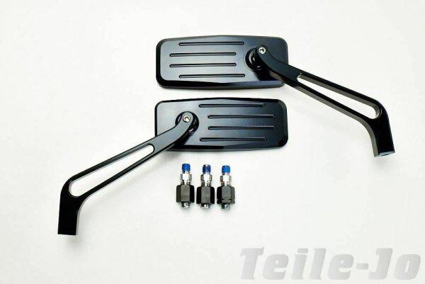 CNC gefräster Alu Spiegel, schwarz matt, 1 Paar
