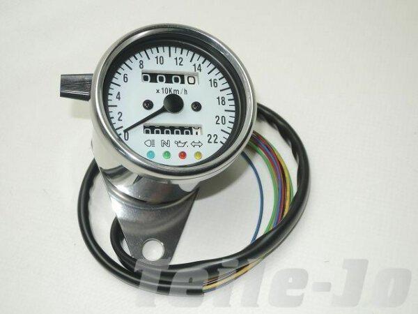Mini-Tacho Chrom, K-Wert 1.4, mechanisch mit Kontrollleuchten, km-Zähler Harley