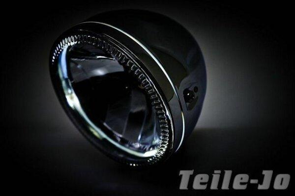 Scheinwerfer 5 3/4 Zoll Chrom mit LED Standlicht Streetfighter Harley UB