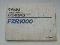 YAMAHA FZR 1000 Ausgabe 1987 2GH-28199-81 Betriebsanleitung Handbuch